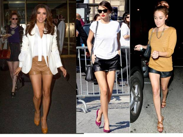Celebrities-wearing-leather-shorts-and-heels