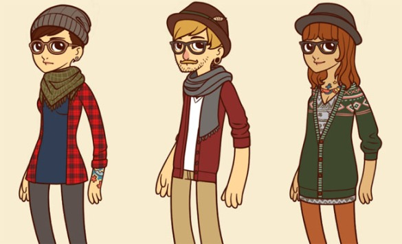 Cartoon-hipster