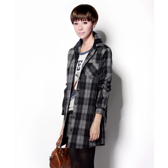 2013-spring-new-arrival-women-s-woolen-plaid-shirt-all-match-outerwear-top-female-jh488