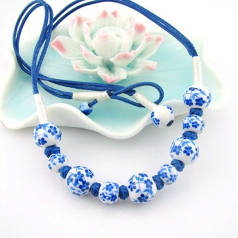 Handmade-blue-and-white-porcelain-beads-necklace-female-short-design-samuume-national-trend-ceramic-accessories