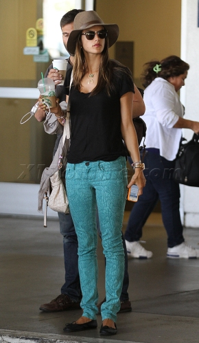 Alessandra Ambrosio at LAX with her family